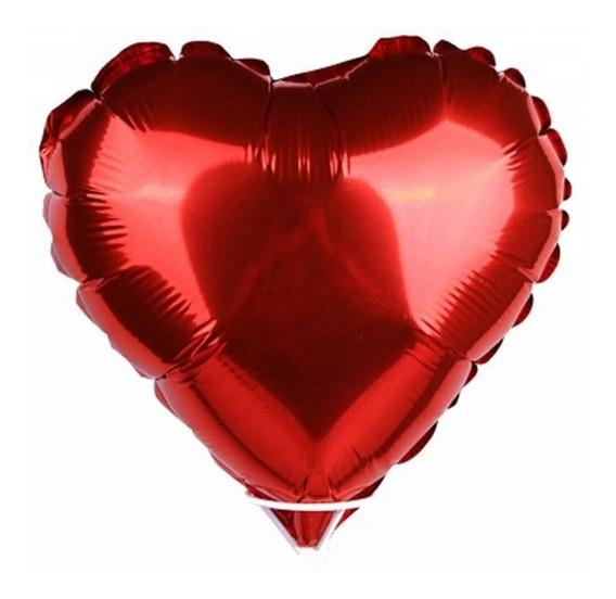 10 Globos Metálicos Corazón 18 Pulgadas 45cm Varios Colores