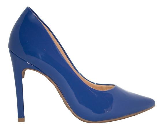 Zapatos Stilletos Mujer Charol Azul Taco Alto Aguja