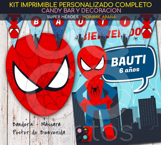 Tarjeta Y Deco Candy Spiderman- Hombre Araña - Super Héroes