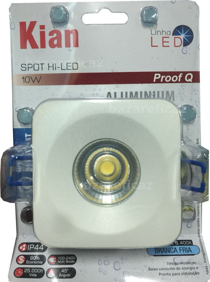 Spot Led Quadrado Embutir Proof Q 10w Biv 6.400k Ip44 Kian