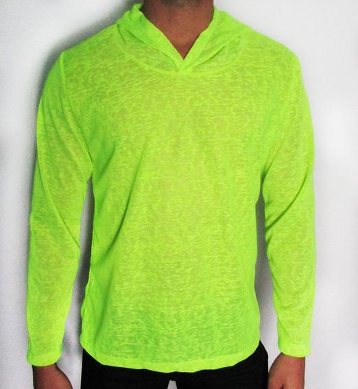 Camisetas Masculinas Transparente Manga Longa Verde Neon