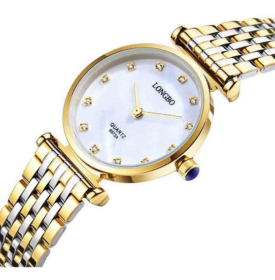 Longbo 8973 Relógios Casual Estilo Casual Casal Aço Inoxidáv
