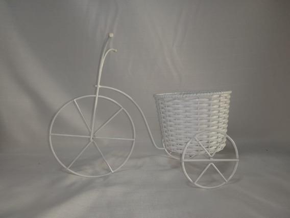 Floreira Bicicleta Branco Junco Decoração Enfeite Porta Vaso