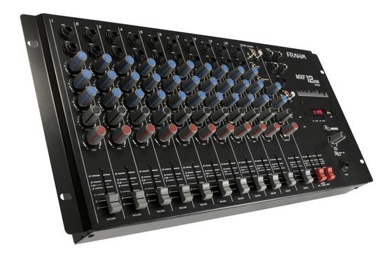 Mesa De Som Dj Mixer Mxf 12 Canais Usb Frahm Mono Estéreo