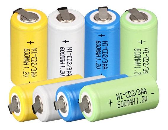 24 Bateria Recarregável Ni-cd 1.2v 600mah 2/3aa C/terminal