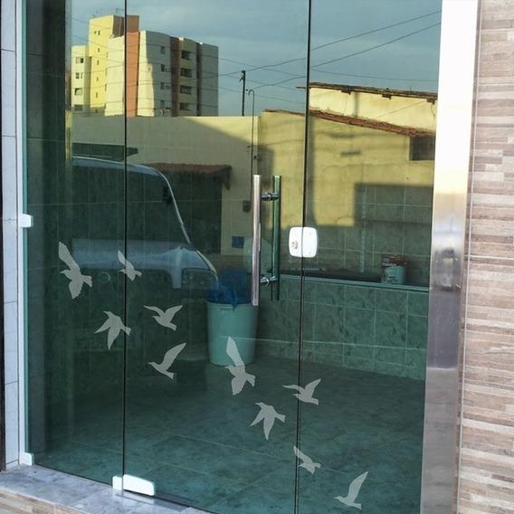 Adesivo Decorativo Para Vidro Pássaros Jateados Médio