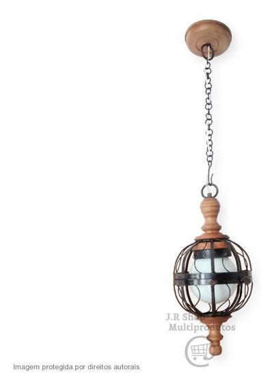 Luminária Lustre Rústico Madeira Ferro Decorativo Artesanal