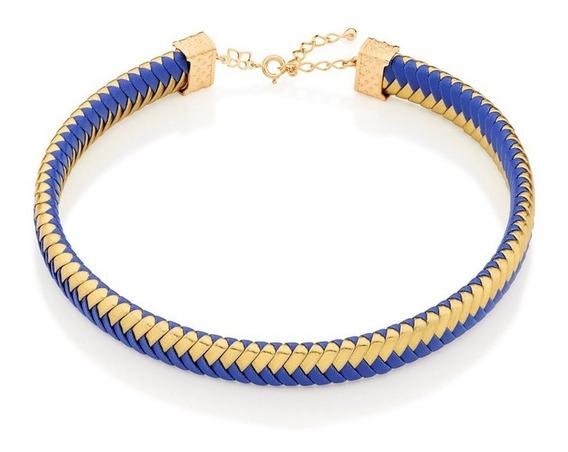 Gargantilha Choker Rommanel Couro Azul E Dourado 531936 37cm
