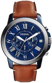 Relógio Fossil Fs5151 44mm Grant Azul E Prata