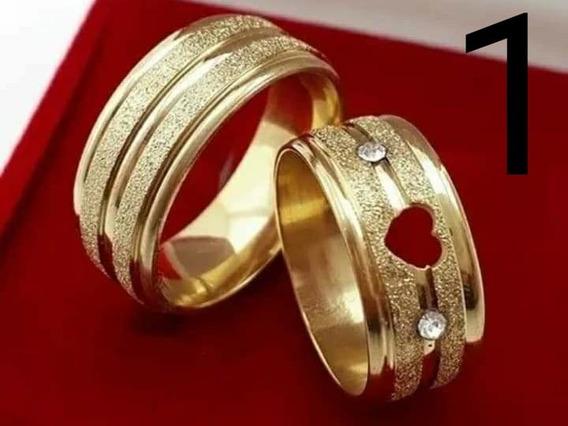 Aliança De Aço Banhado A Ouro