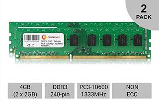 Memoria,4gb Kit Lote 2x 2gb Dimm Ddr3 Escritorio 10600 1..