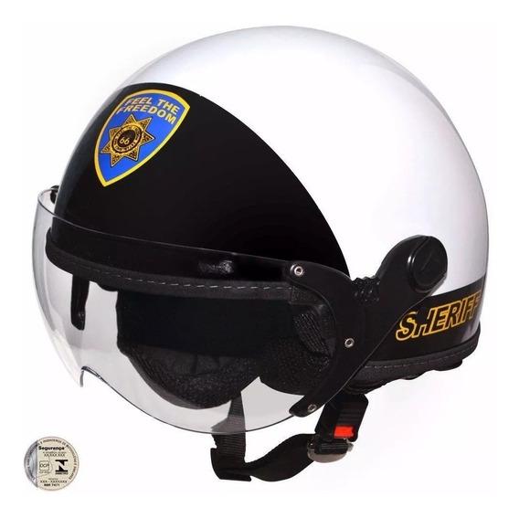 Capacete Kraft Plus Sheriff Branco E Preto Brilhante