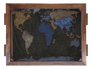 Bandeja De Madeira Mapa Jeans
