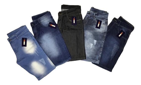 Kit 5 Bermudas Shorts Jeans Masculina Produto C/ Nota Fiscal