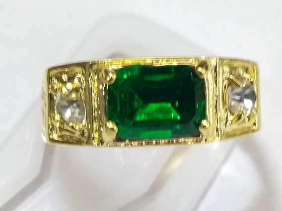 Anel Pedra Verde Numero 22 Com Garantia 10 Banhos De Ouro18k