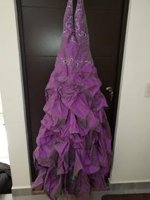Vestido De Fiesta Alta Costura Color Lila Tornasol