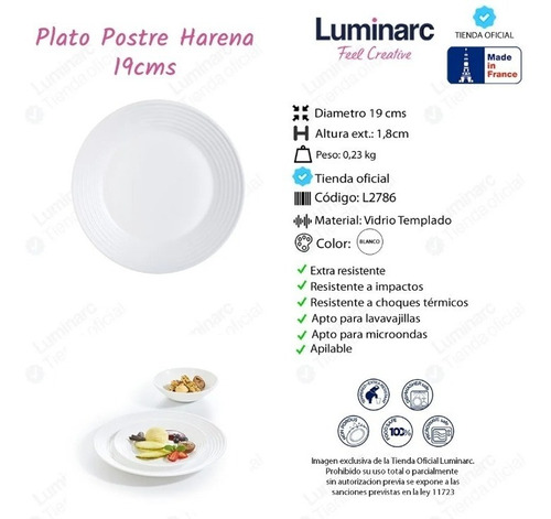 Plato Postre 19 Cm Luminarc Harena Vidrio Templado Blanco