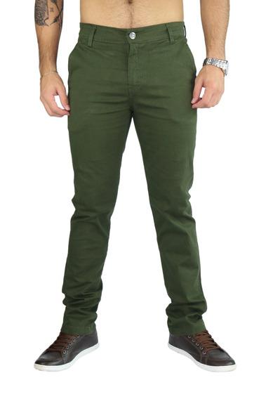 Calça Córdoba Slim Com Elastano Lançamento - Verde Escuro -