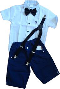 Camisa Infantil Social Masculina Menino Shorts E Suspensório
