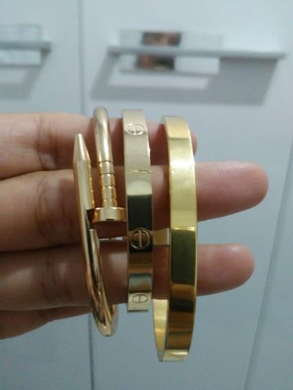 Mix De Pulseiras Braceletes Dourado