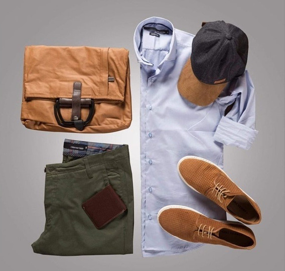 Camisas Elastizadas Y Pantalon Slim Verde