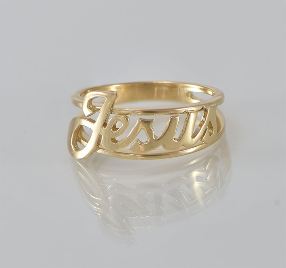 Anel Jesus - Ouro 18 K - Ouro 750 - Com 3,4 Gramas