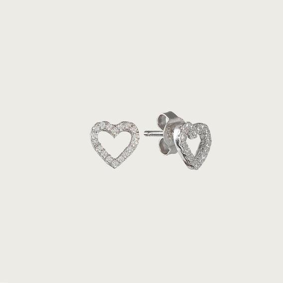 Brinco Coração Em Prata Com Zircônia