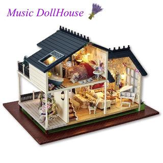 Música Led Luz Miniatura Muñeca Casa Provence Casa De Muñeca