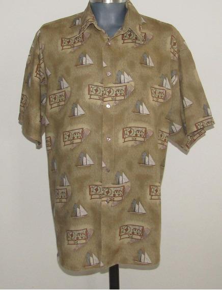 Fina Camisa De Lino Estampado Botes T/xl Bellini Collection