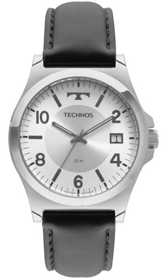 Relógio Technos Masculino Pulseira De Couro Preta Com