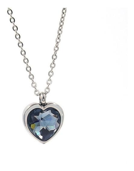 Collar De Acero Inoxidable Corazón Cristal Ahumado