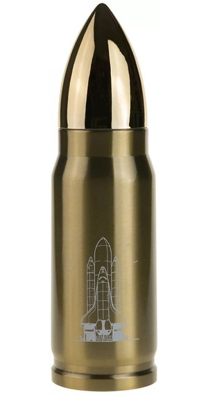Termo En Forma De Bala Con Boton Dosificador Dorado H1210