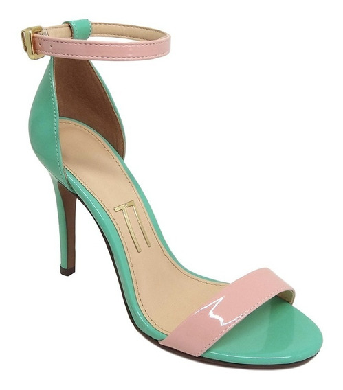 Sandália Verde Claro Verniz Tira Rosa Claro Salto Alto Fino