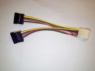 Cable Adaptador De Molex 4 Pines A 2 Sata Power 15 Pines