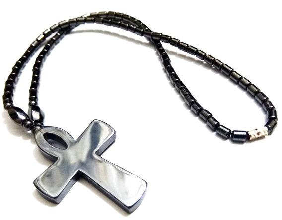 Corrente/cordão/colar Egípcia Pedra Estilo Alçada Crucifixo