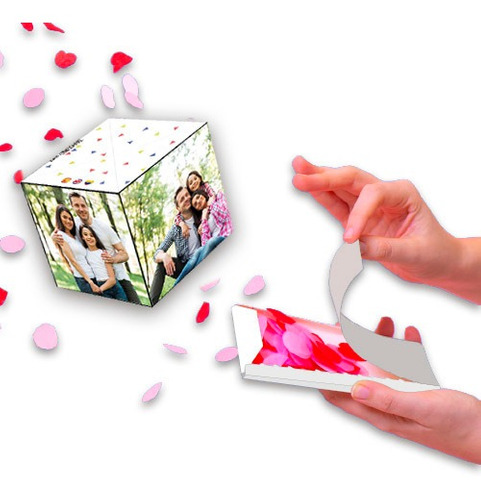 Cubo Caja Sorpresa Fotos Detalle Retrato Fiesta Tarjeta Boom