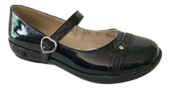 Zapato Escolar Colegial Yondeer 4800 Para Niña Charol Negro