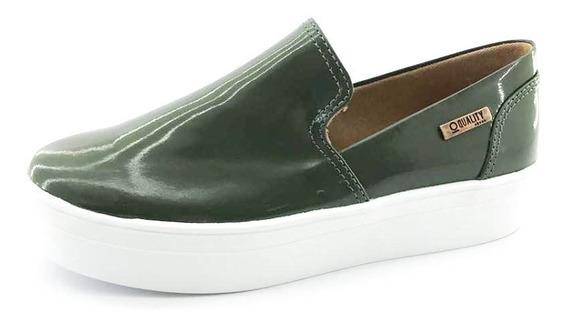 Tênis Flatform Quality Shoes Feminino 004 Verniz Verde Milit