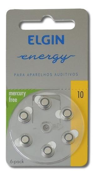 Bateria Para Aparelho Auditivo 10 Pr70 1,4v Com 6 Elgin