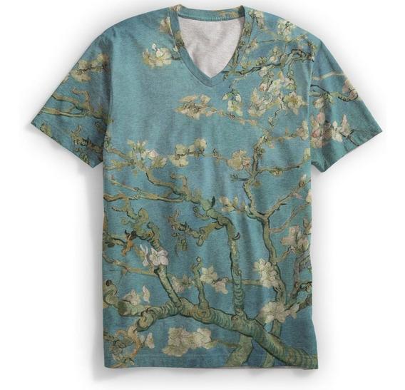 Camiseta Gola V Van Gogh Amendoeira Em Flor Hipster Cult Mt