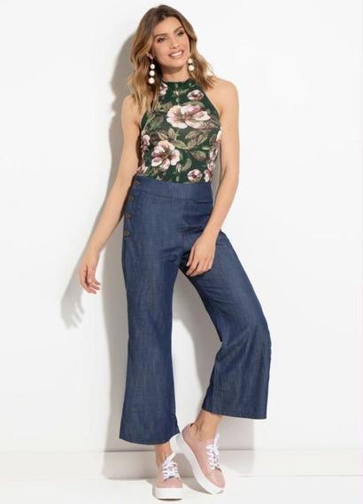 Calça Feminina Jeans Escuro Pantacourt Social Plus Size