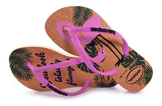 Chinelo Havaianas Original Feminino Glitter Girafa/flamingo