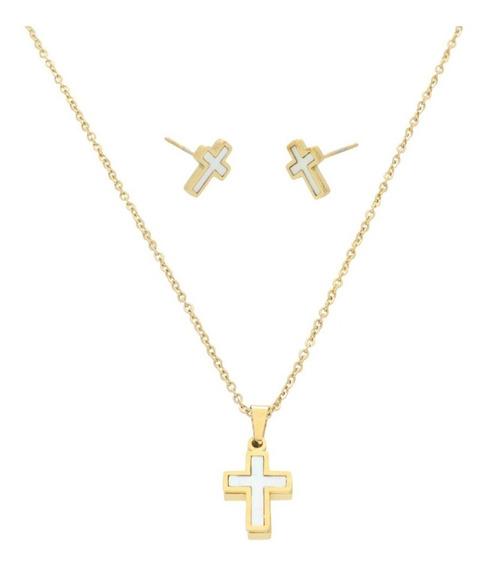 Collar Y Aretes Cruz Perla Madre | Religiosa