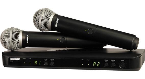 Sistema Microfone Sem Fio Shure Blx288/pg58 Com 2 Microfones