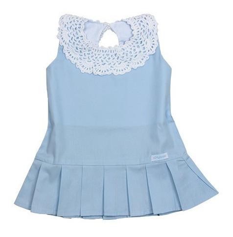 Vestido Intantil 100% Algodão Vanvan Azul