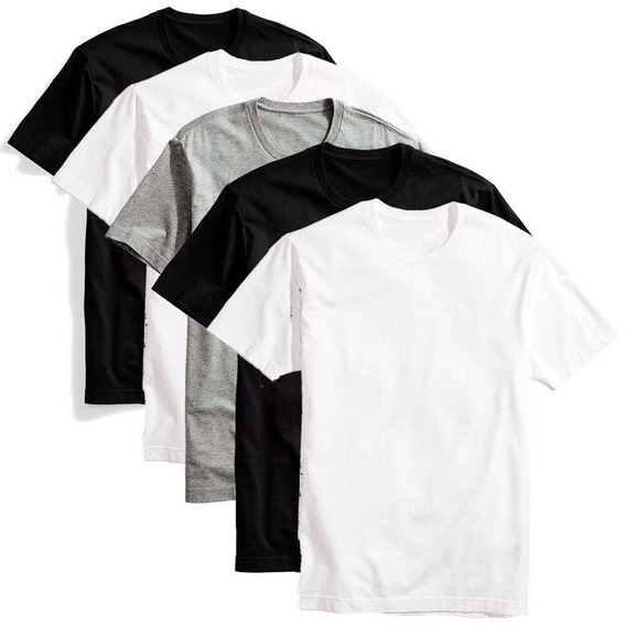 Kit 5 Camisetas Masculinas T-shirt Lisa Sem Estampa
