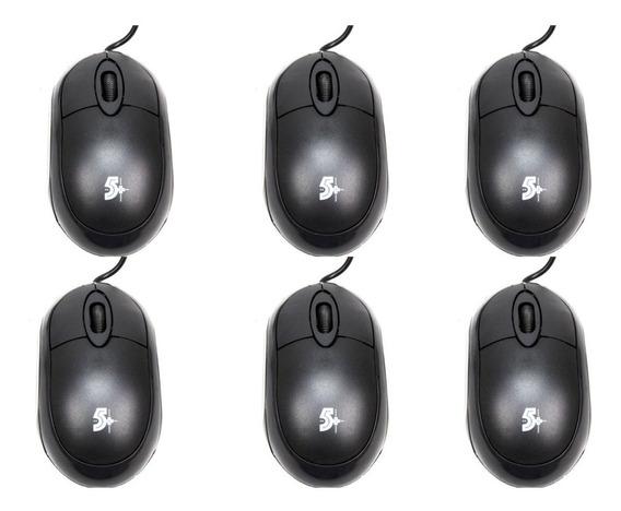 6 Mouses Usb Chip Sce 5+ 015-0043 1000dpi Preto