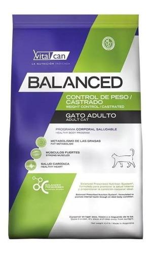 Imagen 1 de 1 de Alimento Vitalcan Balanced Control de Peso/Castrados para gato adulto sabor mix en bolsa de 7.5kg