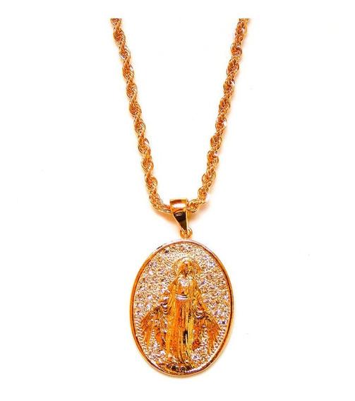 Colar Nossa Senhora Das Graças Com Zircônias Folheado A Ouro