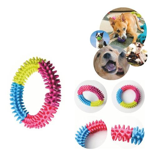 Brinquedo Pet Anel Colorido Com Cravos De Borracha Resistent